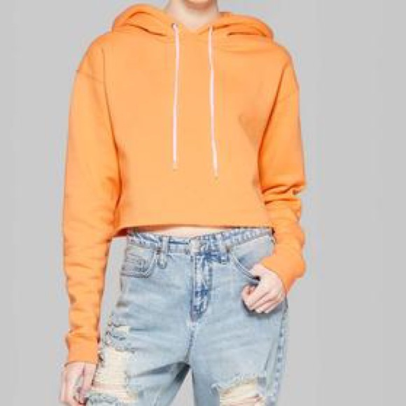 Sweatshirt, Cropped Tropical Orange Wild Fable